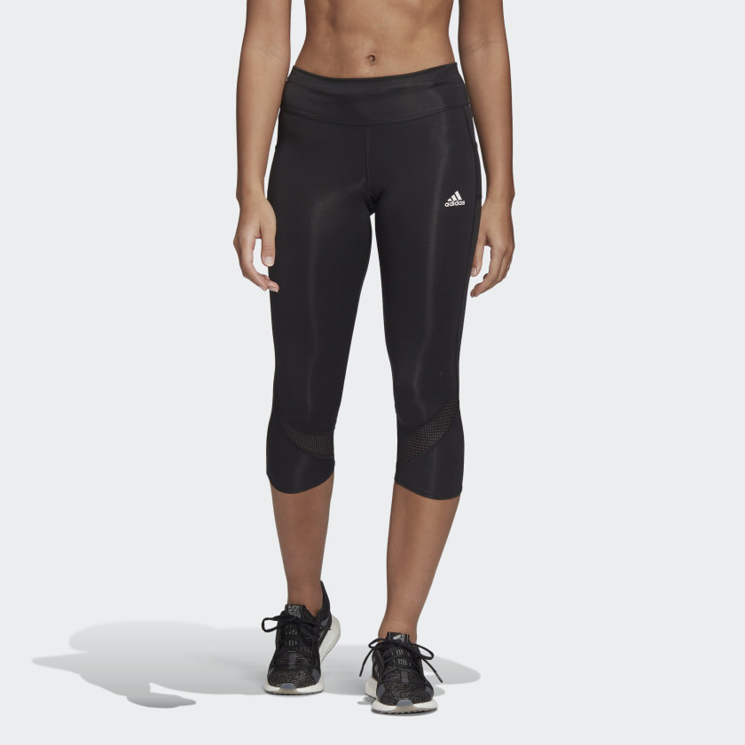 Black capris with white adidas logo on top ride side
