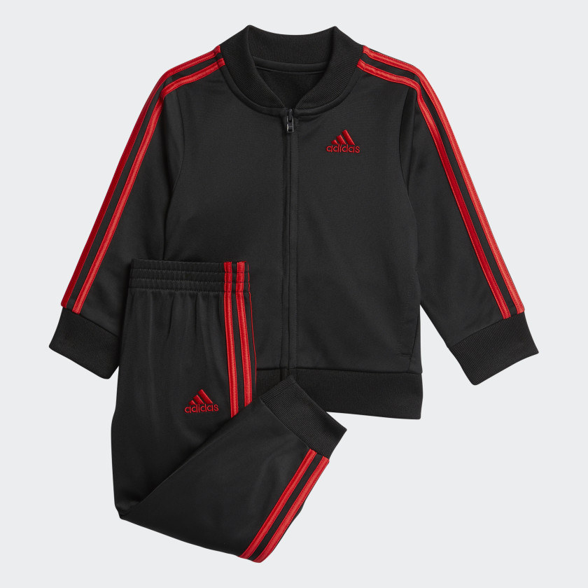 Black Sweatshirt and pants with three red lines going down the side