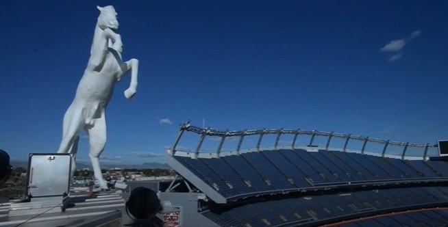 Bucky the Bronco statue at Mile High Stadium.