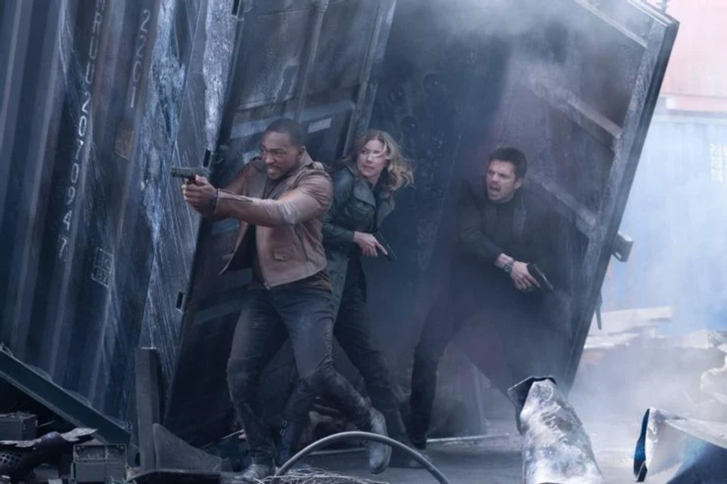 Sam, Sharon, and Bucky in a shootout scene.
