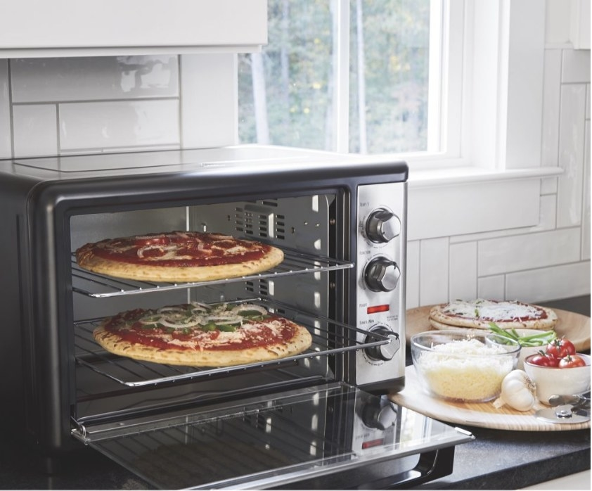 A convection oven with a rotisserie feature