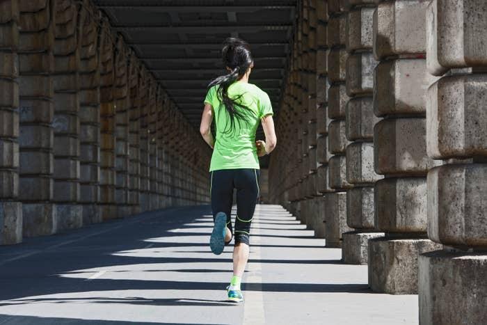 A woman jogging