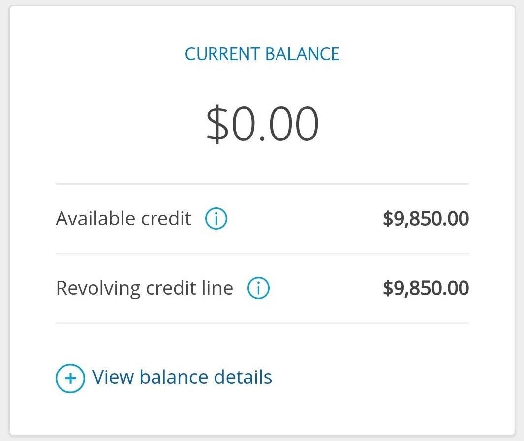 Screenshot of my credit card balance at 0