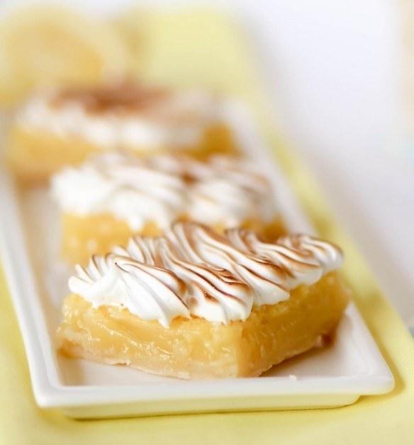 Three lemon meringue pie bars.