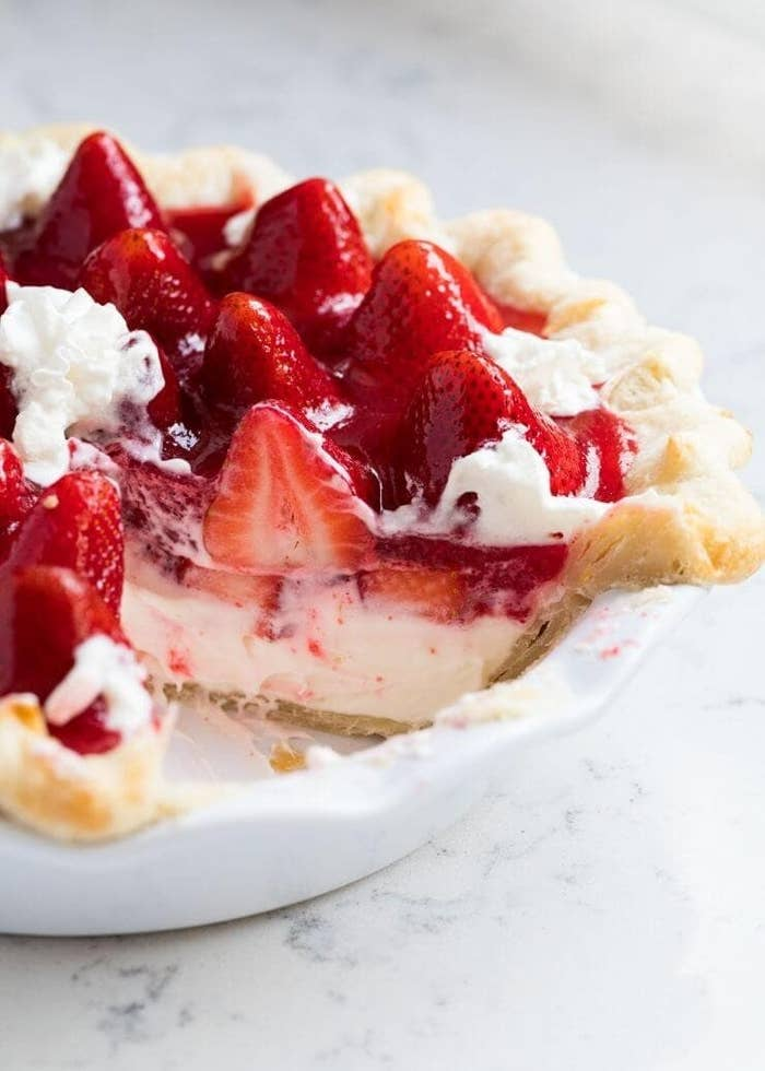 A fresh strawberry cream pie.