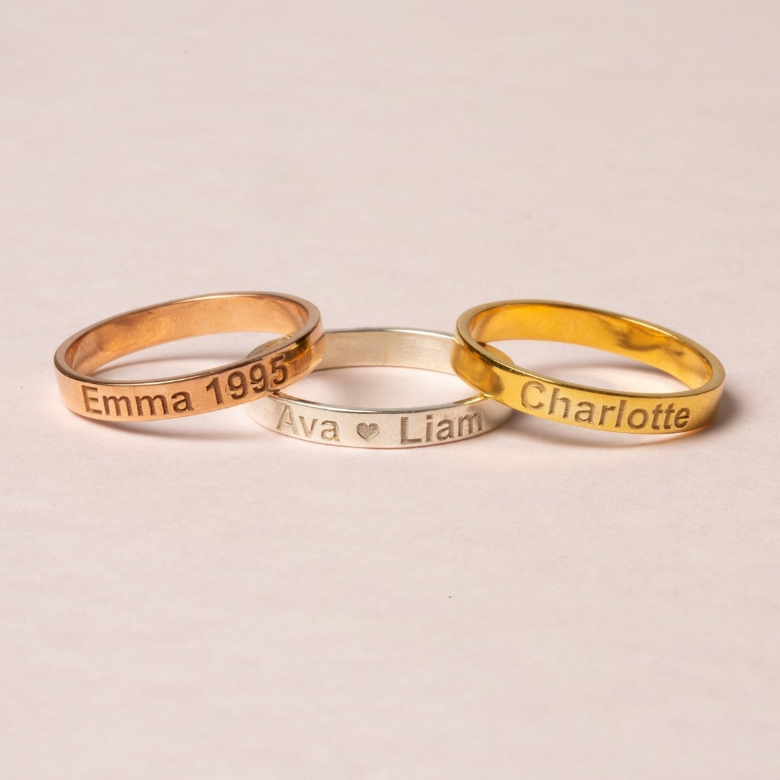 A few of the rings with different names engraved in them