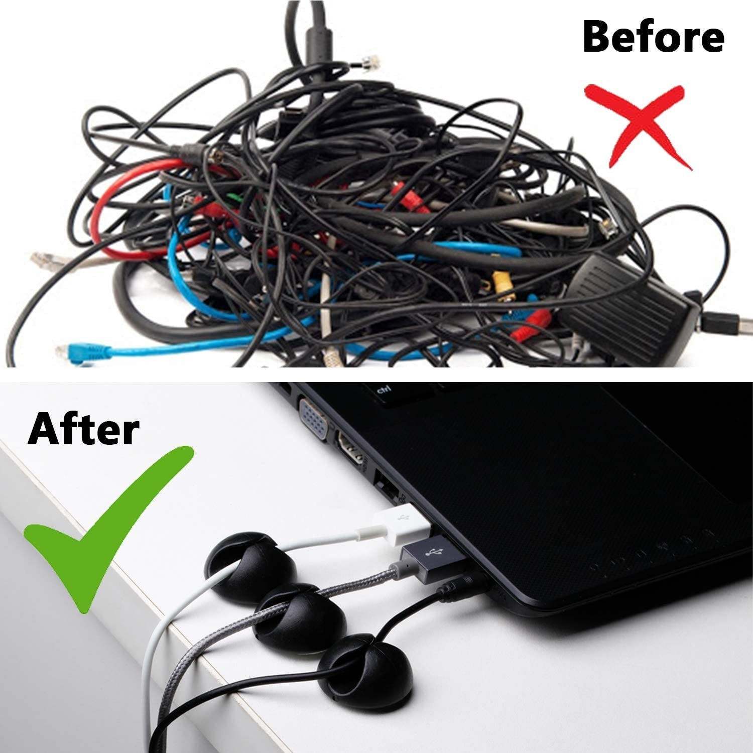 A before and after photo showing that the clips keep cables neat and organized