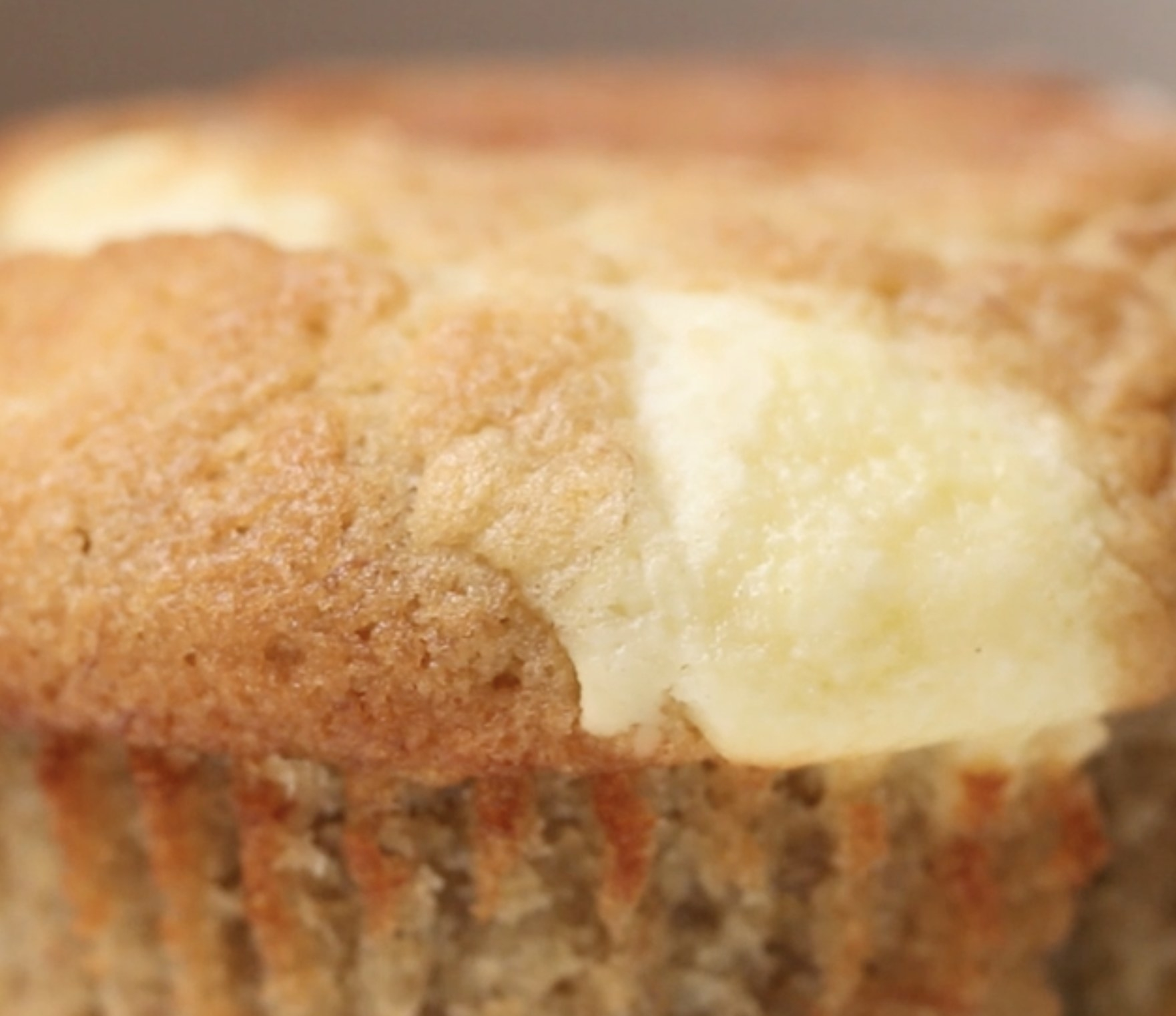 The banana bread muffins with cream cheese filling