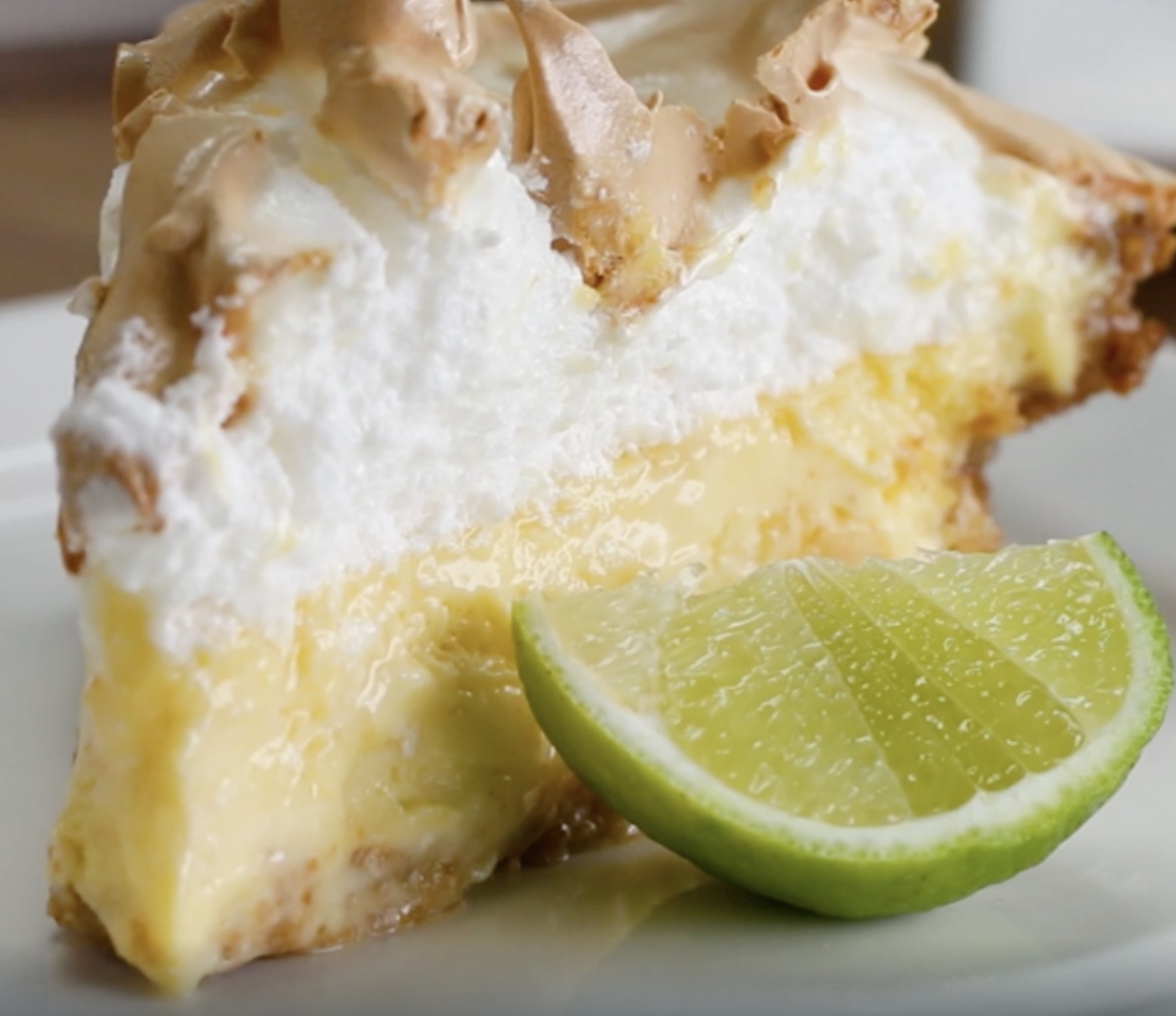 The key lime pie with the marshmallow meringue on top
