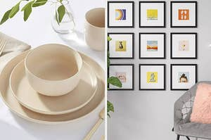 a beige place setting and a gallery wall