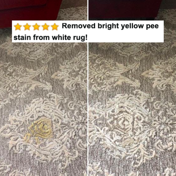 "Reviewer's before-and-after of pee-stained rug and then clean rug with five-star caption ""removed bright yellow pee stain from white rug!"""