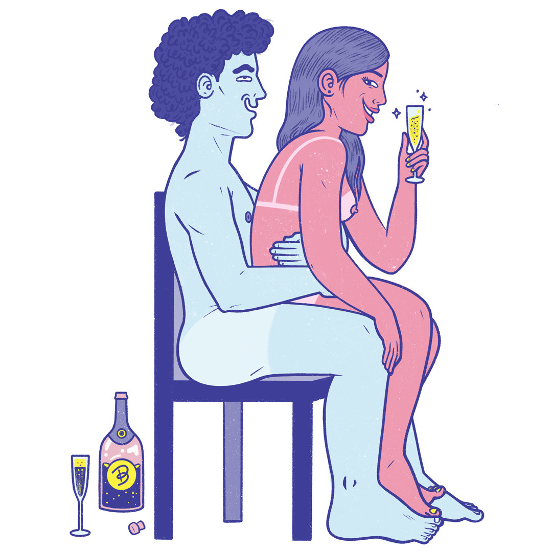 """An illustrated image of the """"champagne room"""" position"""