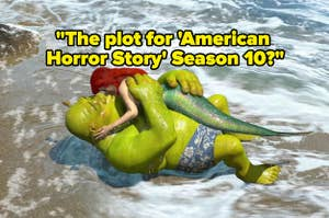 Shrek kissing a mermaid on a beach with text asking,
