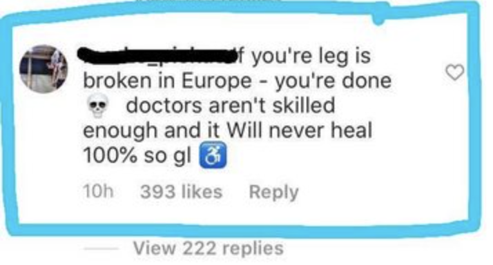 person who says if your leg is broke in europe doctors can't fix it