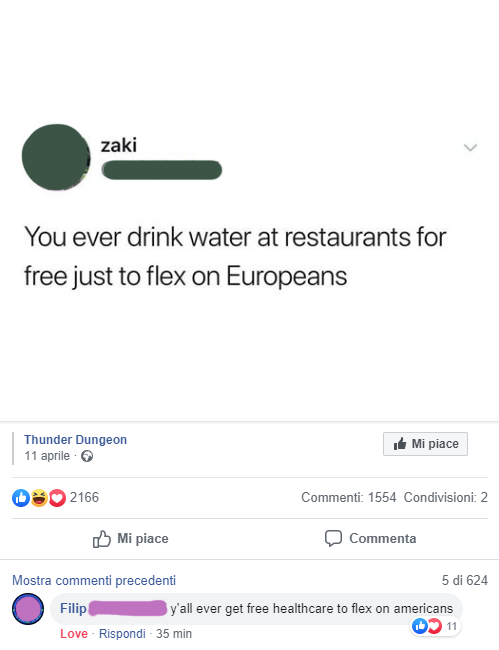 person who says at least we get free water in american restaurants