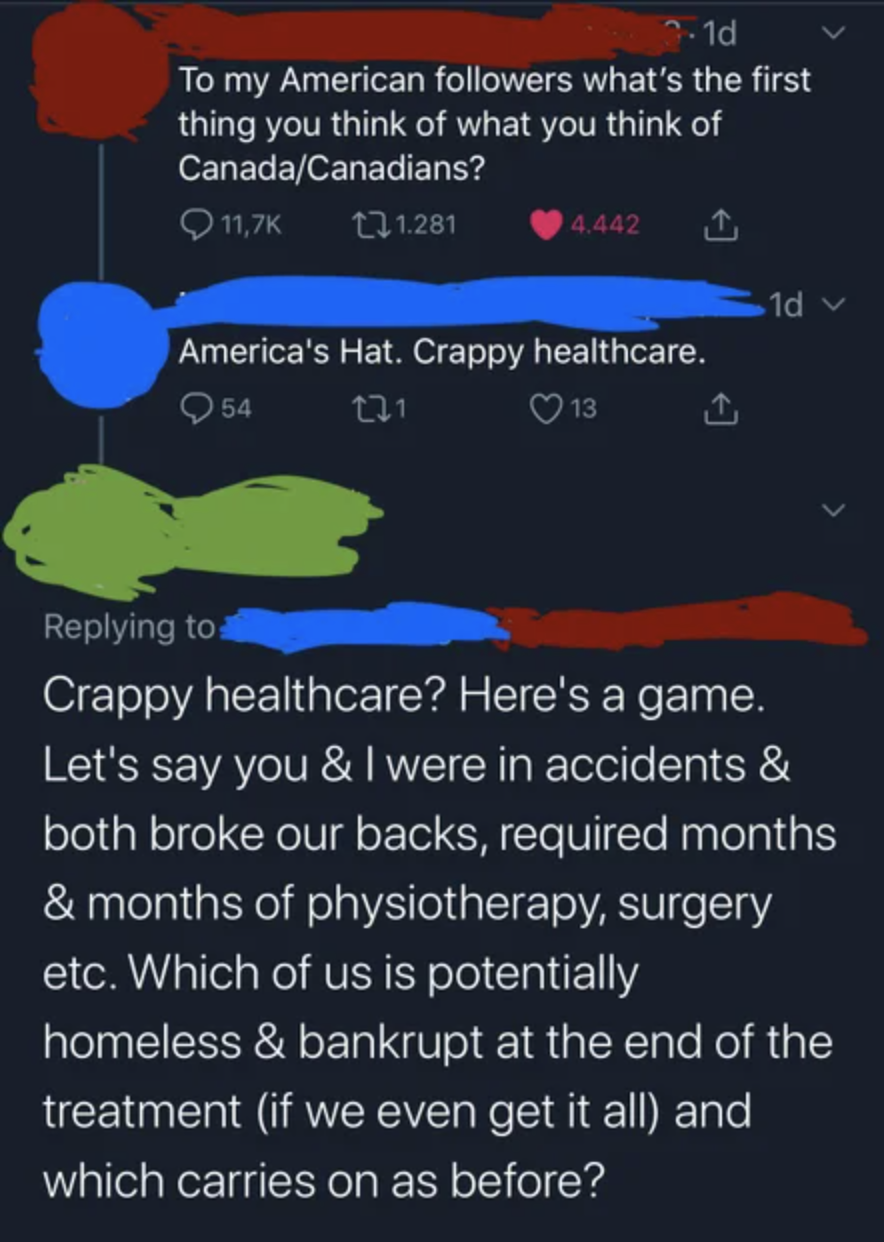 person arguing about healthcare in canada