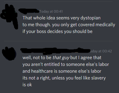 person who says free heathcare is slavery