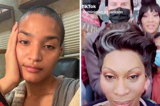 Selfies of Indya Moore and Dominique Jackson
