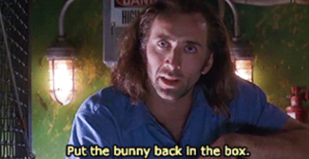 """Cameron telling The Virus: """"Put the bunny back in the box"""""""