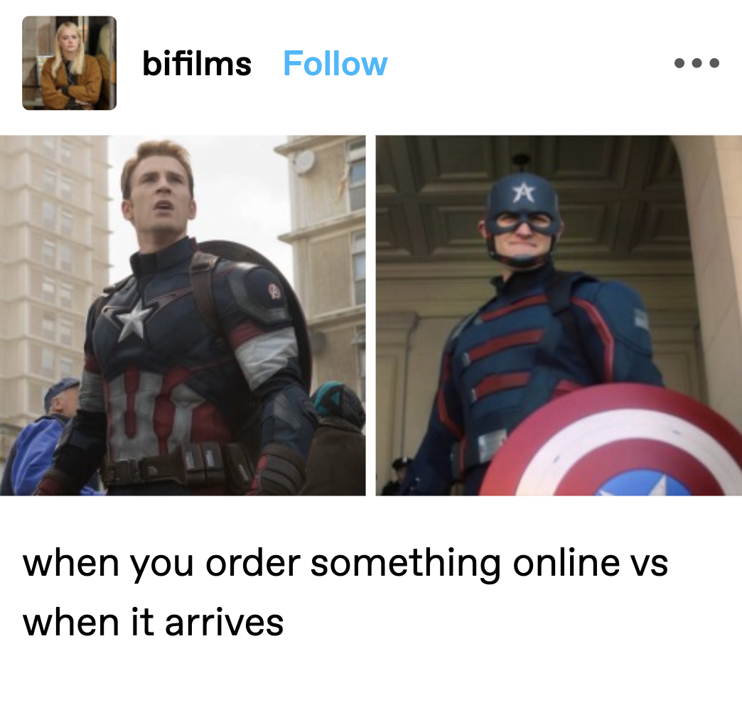 """Steve Rogers labeled """"when you order something online"""" and the new Captain America labeled """"when it arrives"""""""