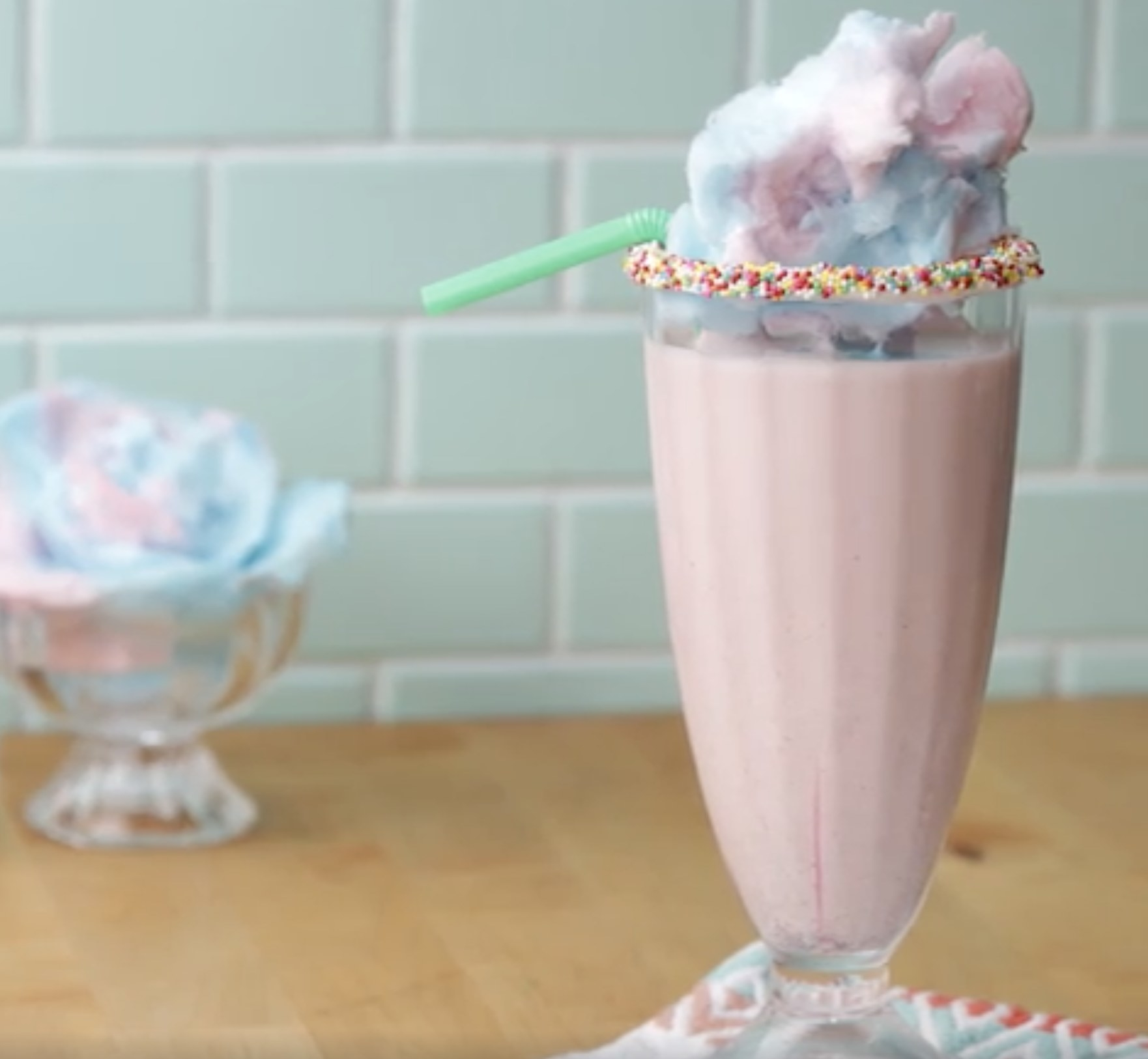 The cotton candy milkshake with cotton candy on top