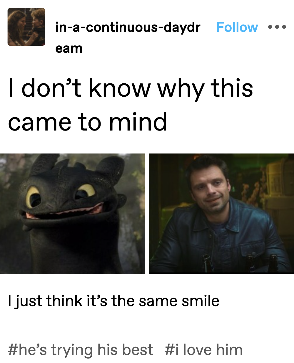 """Toothless from How To Train Your Dragon and Bucky Barnes smiling with text saying """"I don't know why this came to mind, I just think it's the same smile"""""""