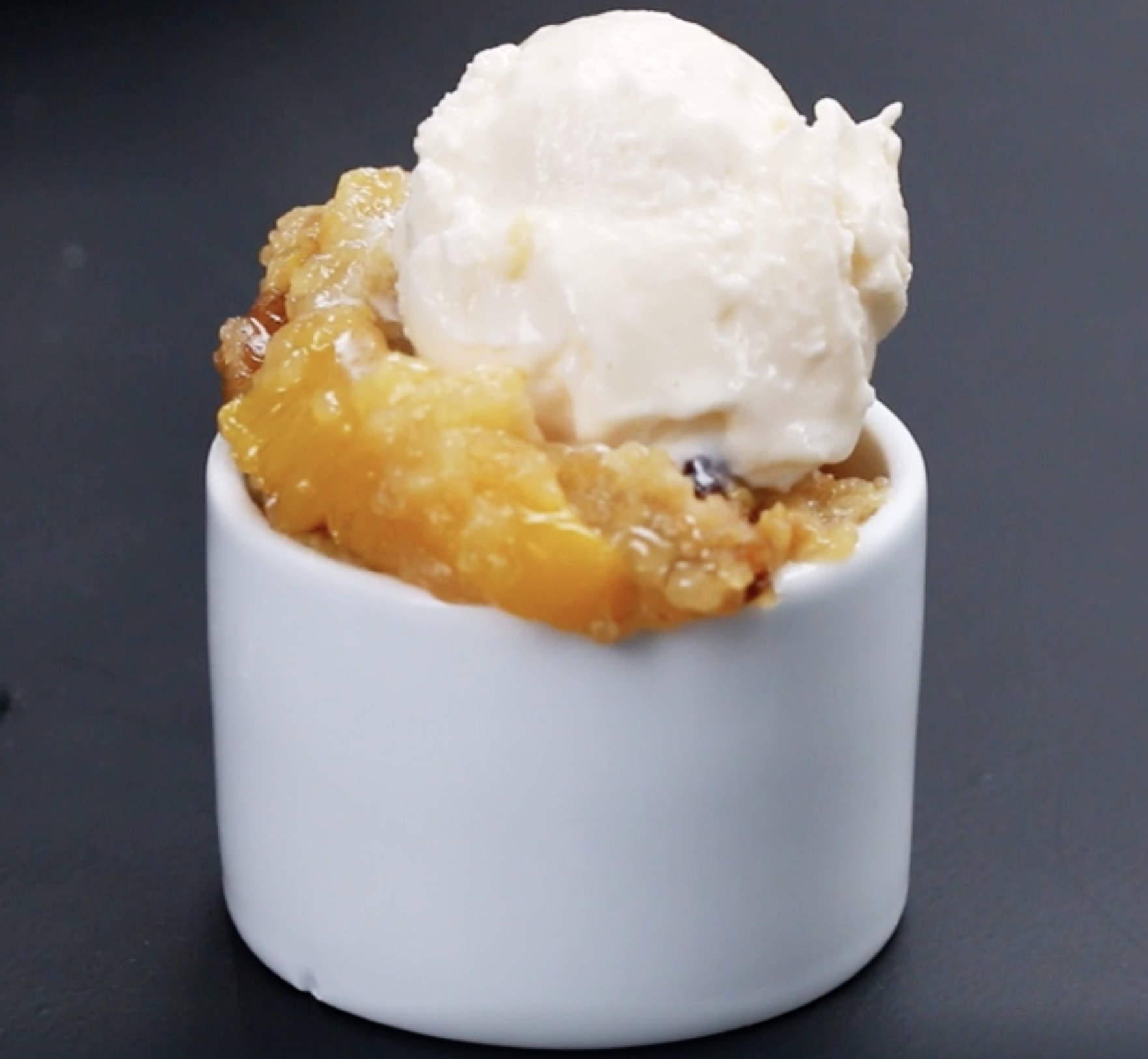 The peach cobbler with icecream on top