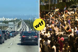 Intense traffic to Miami and a huge congested crowd of people