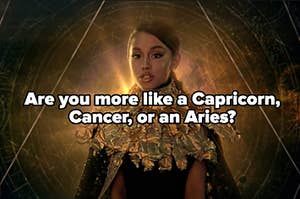 """Ariana Grande is surrounded by astrological signs with a label that reads: """"Capricorn, Cancer, Or Aries?"""""""