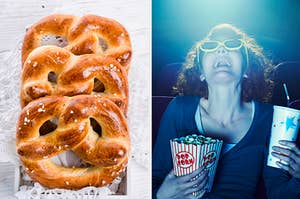 On the left, some soft pretzels, and on the right, someone watching a 3D movie in a theater with popcorn in one hand a drink in the other