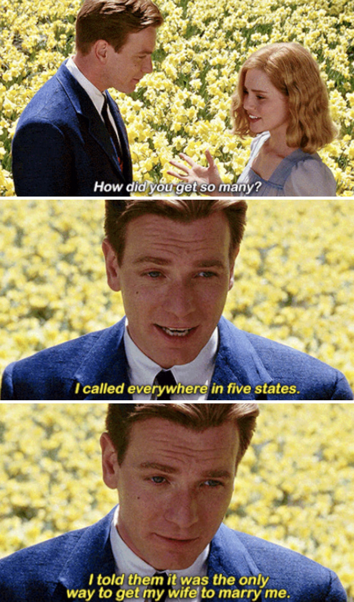 """Young Edward proposing to Sandra with a field of daffodils, saying: """"I called everywhere in five states. I told them it was the only way to get my wife to marry me"""""""