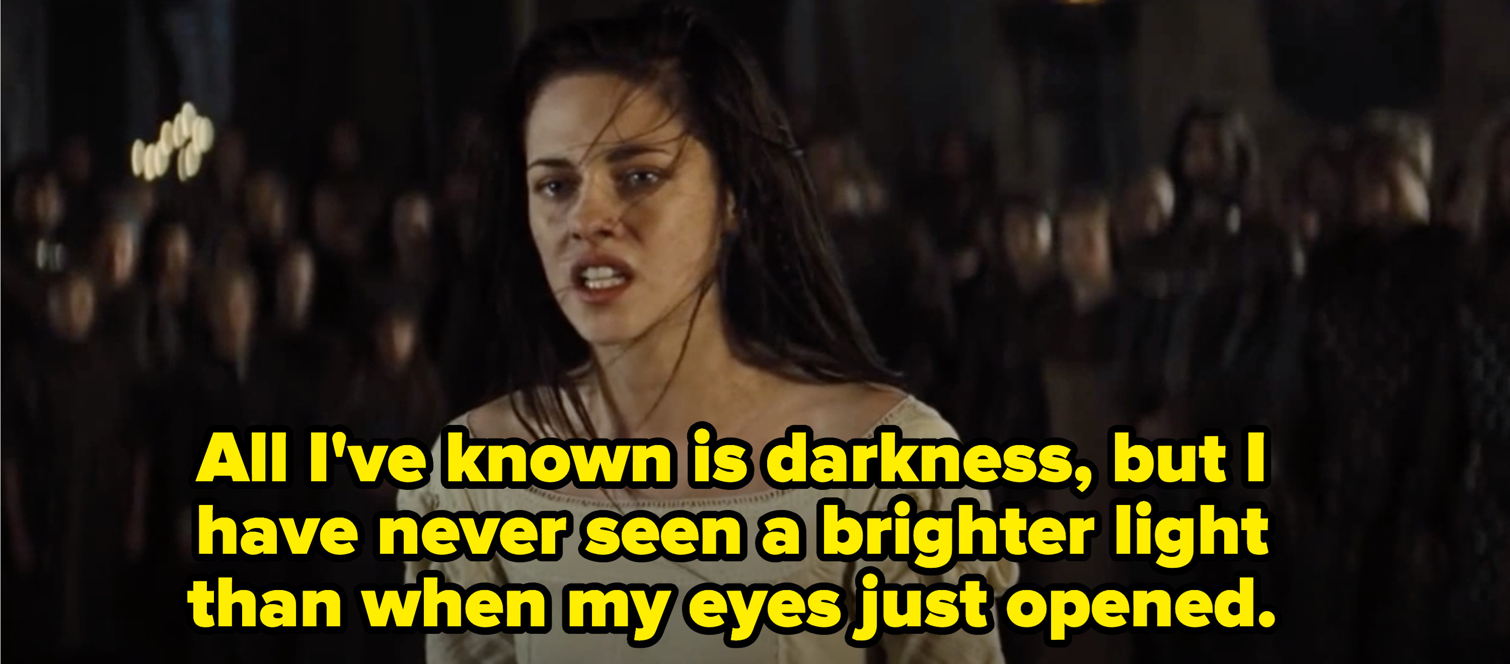 """Snow White declaring: """"All I've known is darkness, but I've never seen a brighter light than when my eyes just opened"""""""