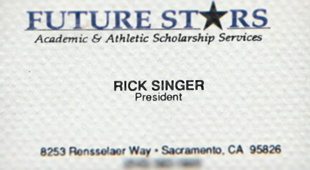 The business card of Rick Singer's company, Future Stars