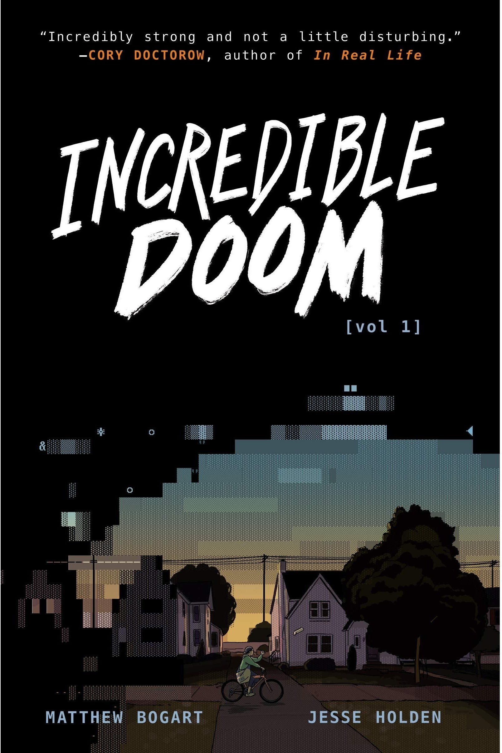 the book cover with a digitized suburban landscape