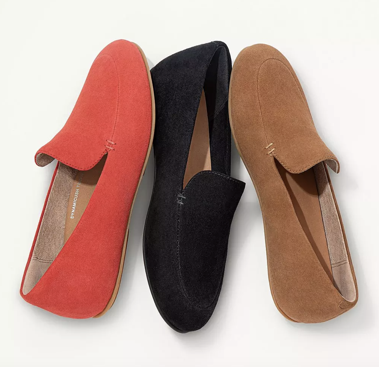 the loafers in red, black, and camel