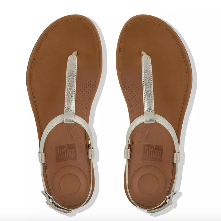 the sandals with silver straps