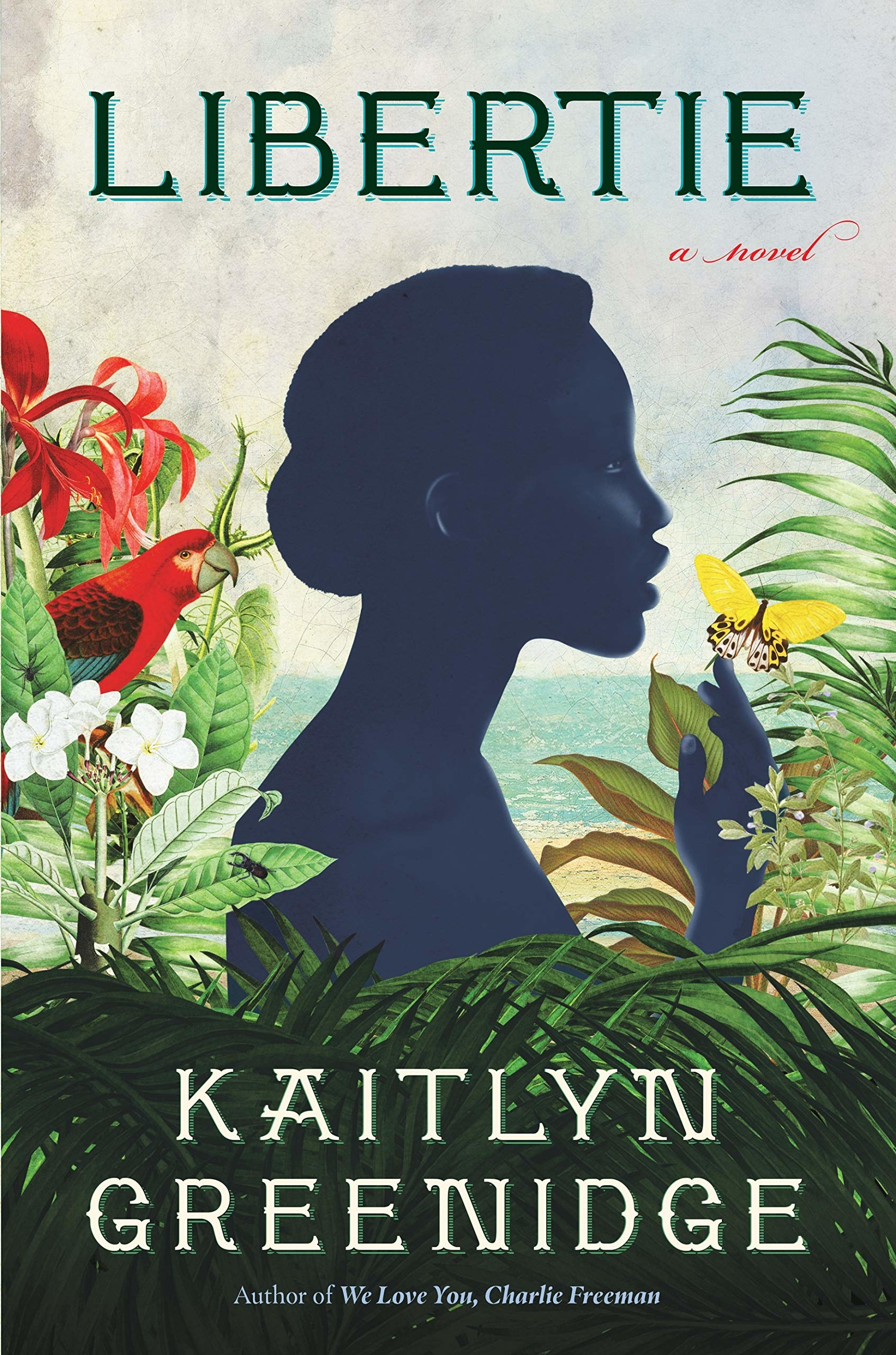 the book cover with a woman holding a yellow butterfly while standing in beautiful plants