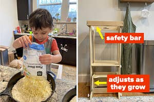 A toddler making a pizza while standing on a learning tower; a tower stored in kitchen
