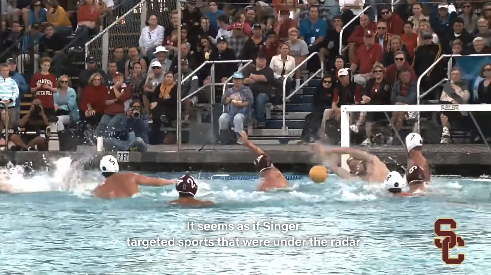 The USC water polo team playing a game