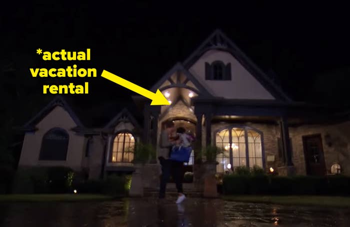 "Madi's ""home"" on the bachelor with an arrow pointing to it that says, ""actual vacation rental"""