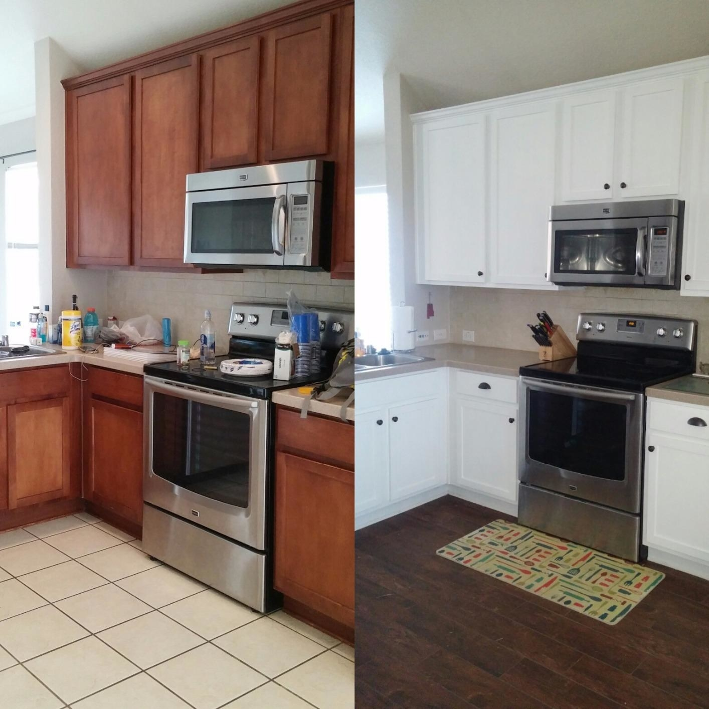 reviewer before and after pictures: before their cabinets are yellow oak and after they are pure white