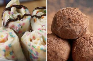 A split thumbnail of rolled ice cream and truffles