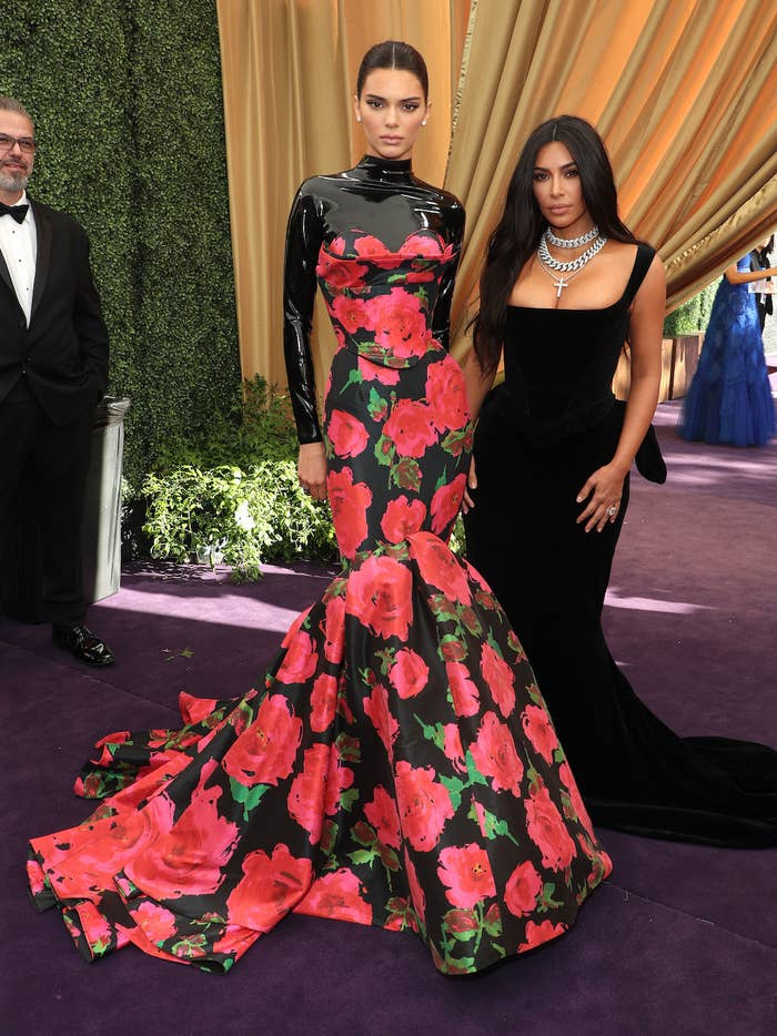 Kendall Jenner and Kim Kardashian at the 2019 Emmys