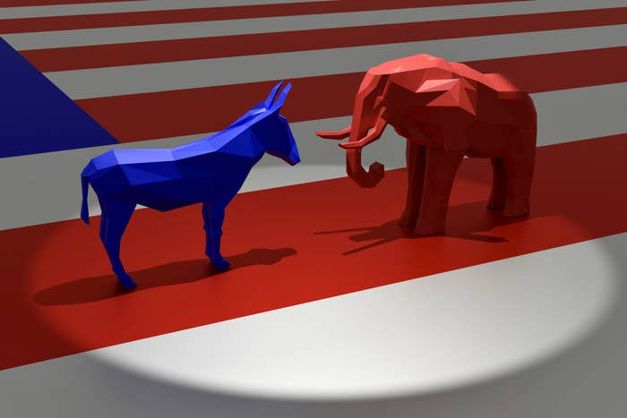 a blue donkey and a red elephant