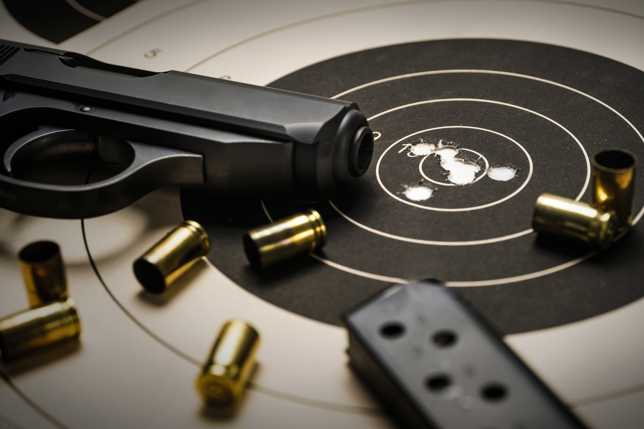 a gun and bullets
