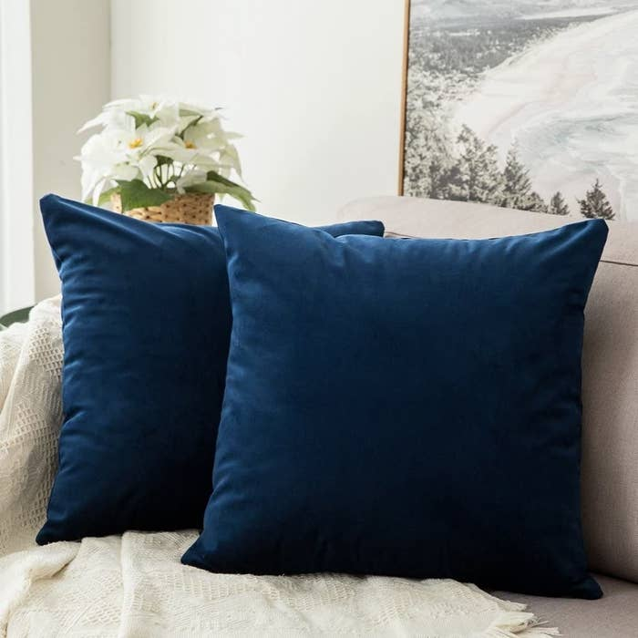 Two blue velvet pillows