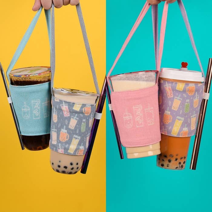 Printed canvas holder with an elastic to hold your straw