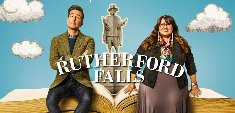 """Ed Helms and Jana Schmieding on the poster for """"Rutherford Falls"""""""
