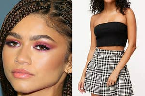 On the left, a closeup of Zendaya's face, and on the right, someone wearing a cropped bandeau top and a patterned skirt