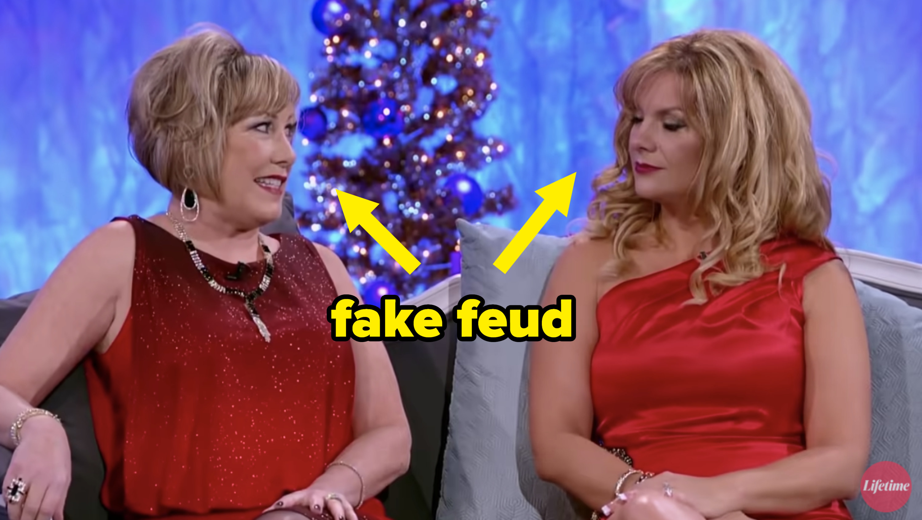 "cathy and another one of the mom's insulting each other with the text ""fake feud"""